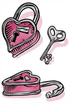 Heart-shaped lock and key