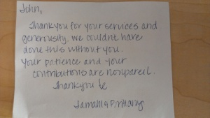 Brittany Jamahl Thank You Note